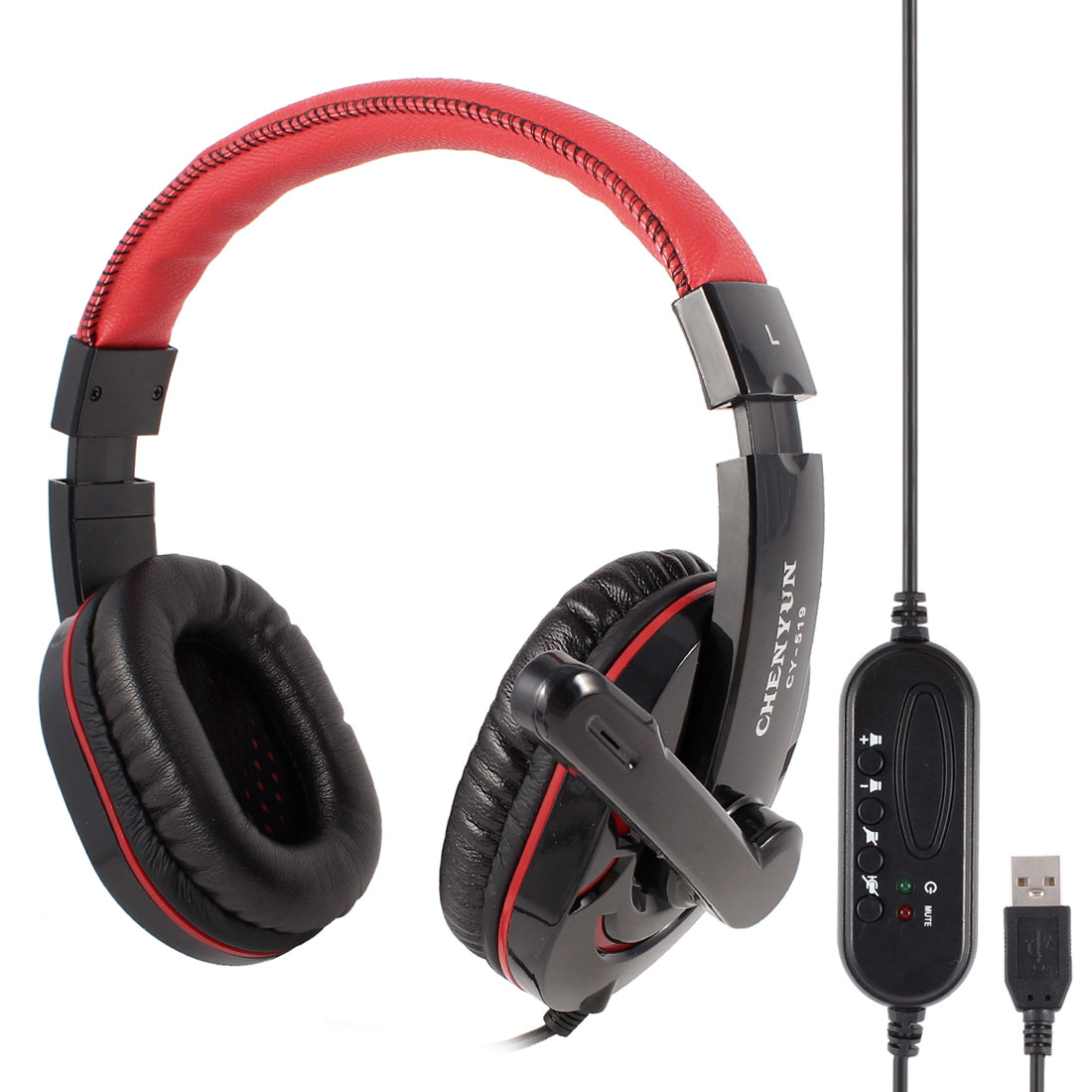 Red Black USB 2.0 Digital Hi-Fi Stereo Headphone Headset w Microphone for Laptop
