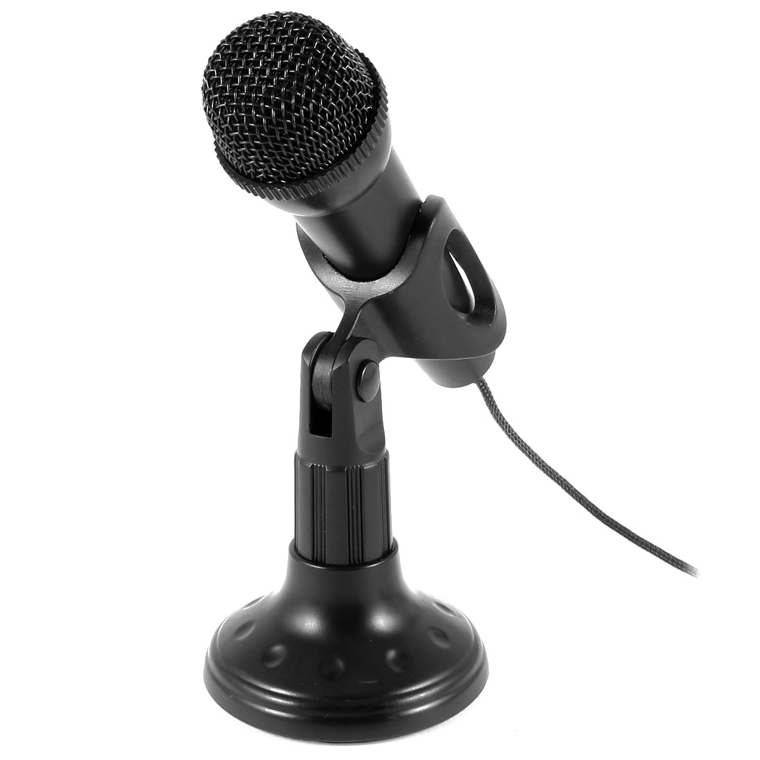 Mini 3.5mm Stereo Studio Speech Microphone Mic w Stand Mount Black for PC Laptop