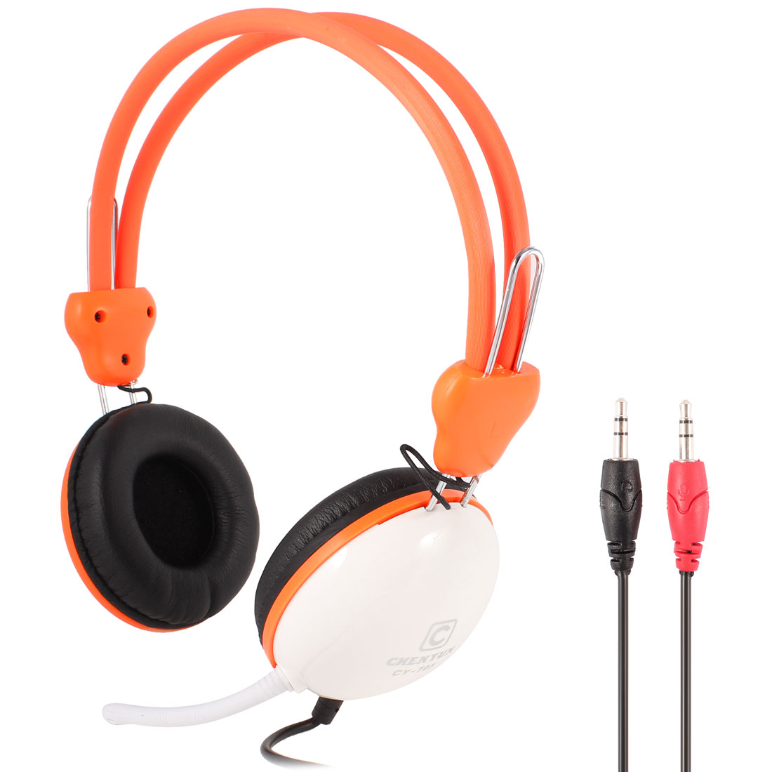 PC Computer Adjustable Headband 3.5mm Connector Headphone Orange White w Microphone