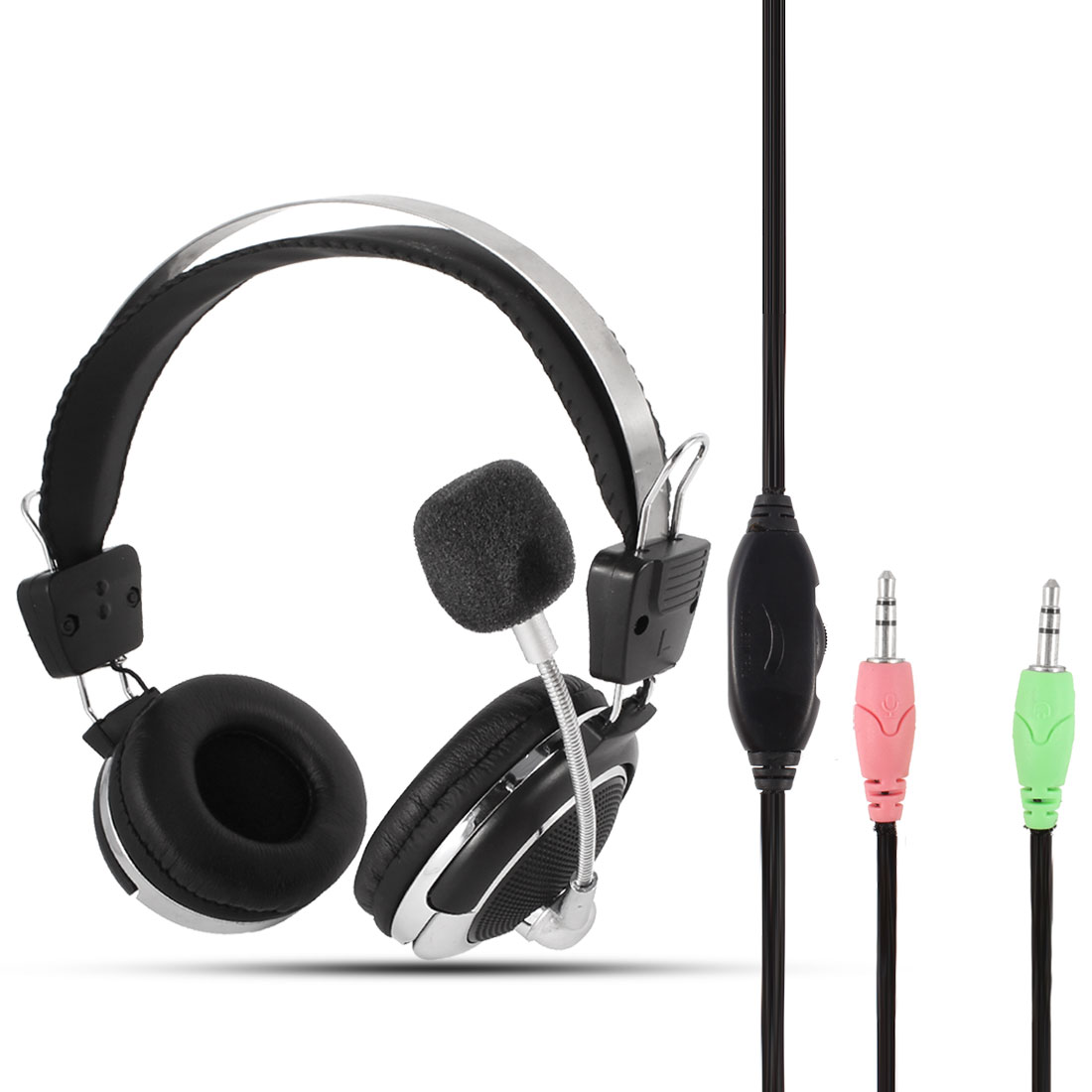 PC Computer Volume Control 3.5mm Connector Stereo Headphone Headset w Microphone Mic
