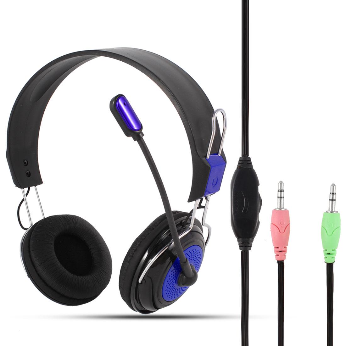 PC Computer Adjustable Headband 3.5mm Connector Headphone Black Purple w Microphone