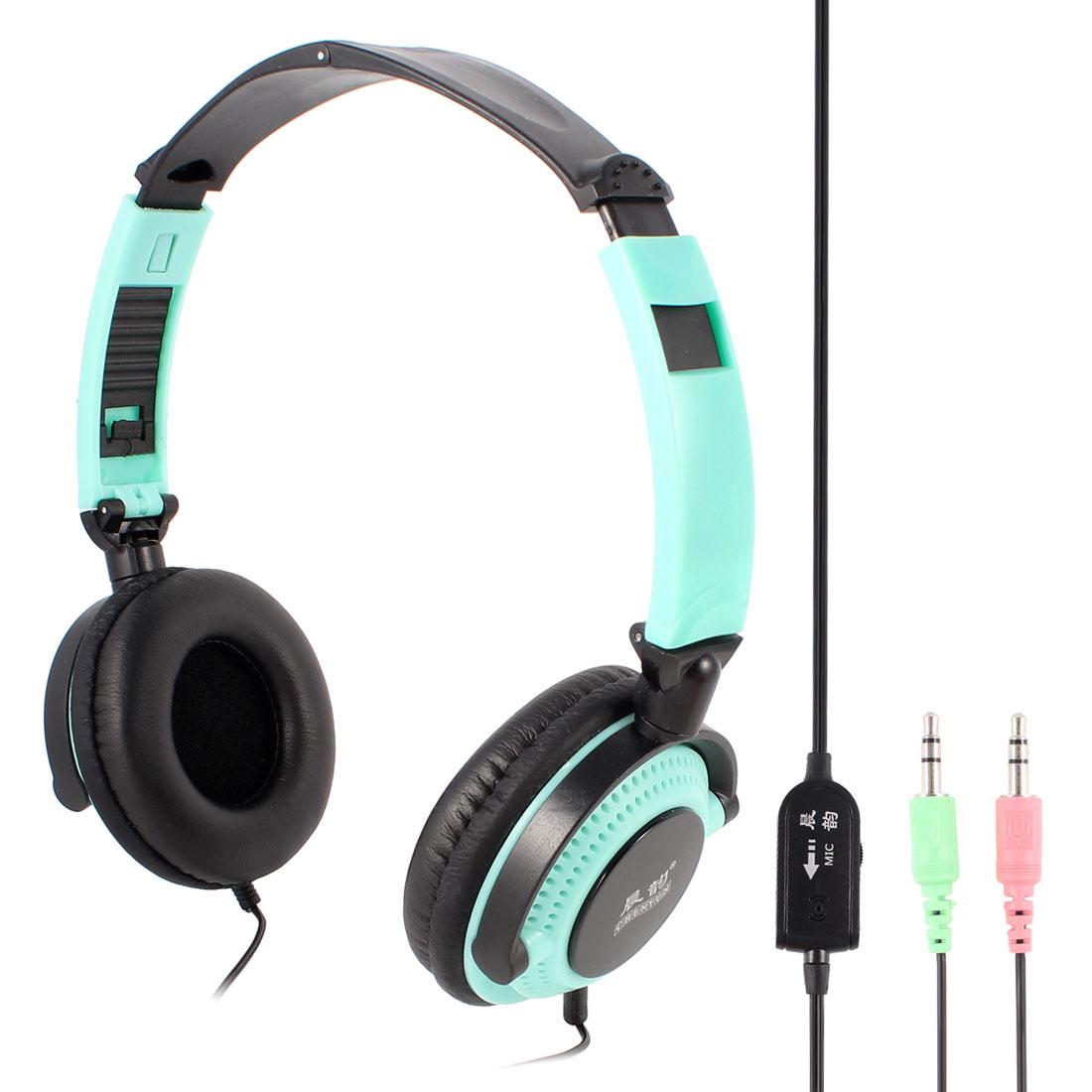 Adjustable Headband 3.5mm Connector Stereo Headphone Headset Black Cyan for PC Laptop