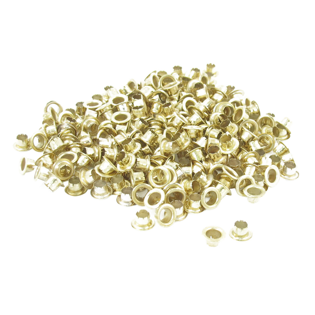 250 Pcs Gold Tone Metallic Round Shaped Eyelet Grommet for Paper