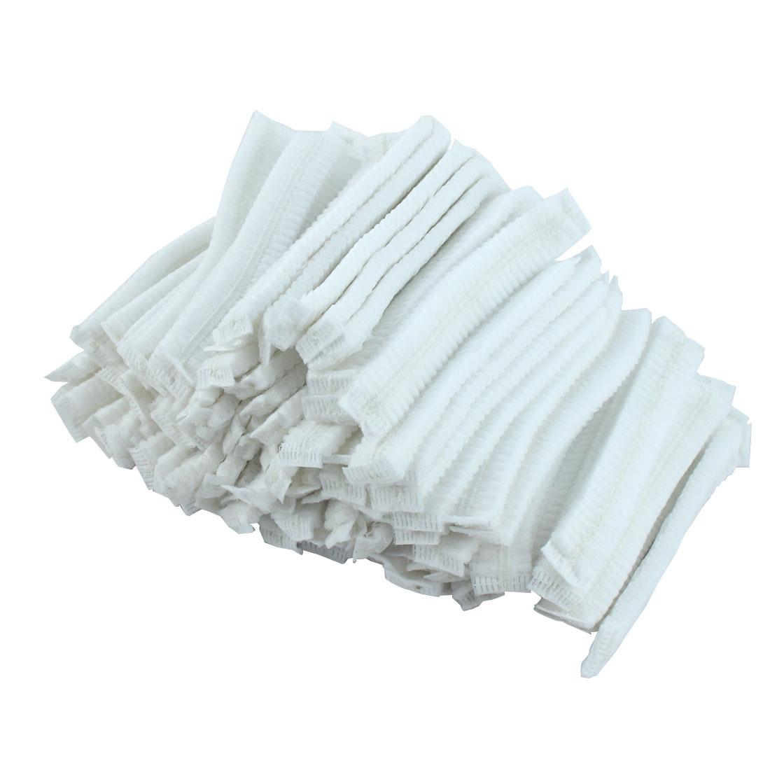 100 Pcs White Stretchy Dual Bands Disposable Non Woven Cap Bath Shower Hat