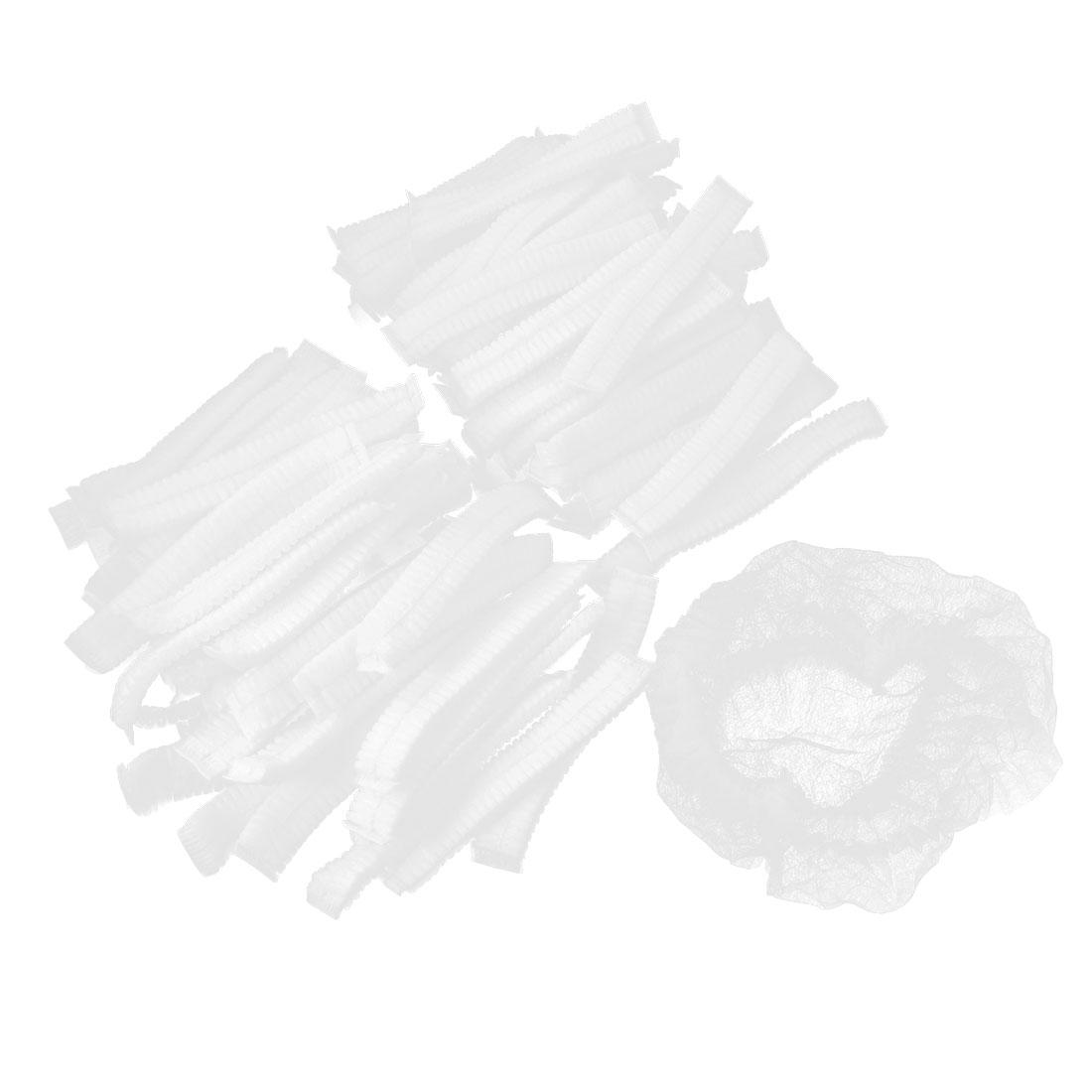 100 Pcs White Elastic Disposable Non Woven Cap Bath Shower Hat