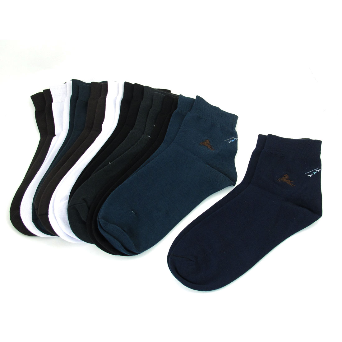 10 Pairs Assorted Colors Cotton Blends Horse Pattern Elastic Cuff Socks