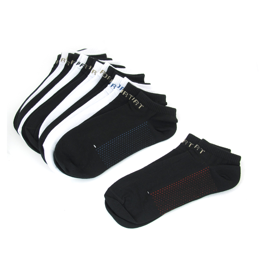 10 Pairs White Black Cotton Blends Dots Pattern Low Cut Ankle Socks for Man
