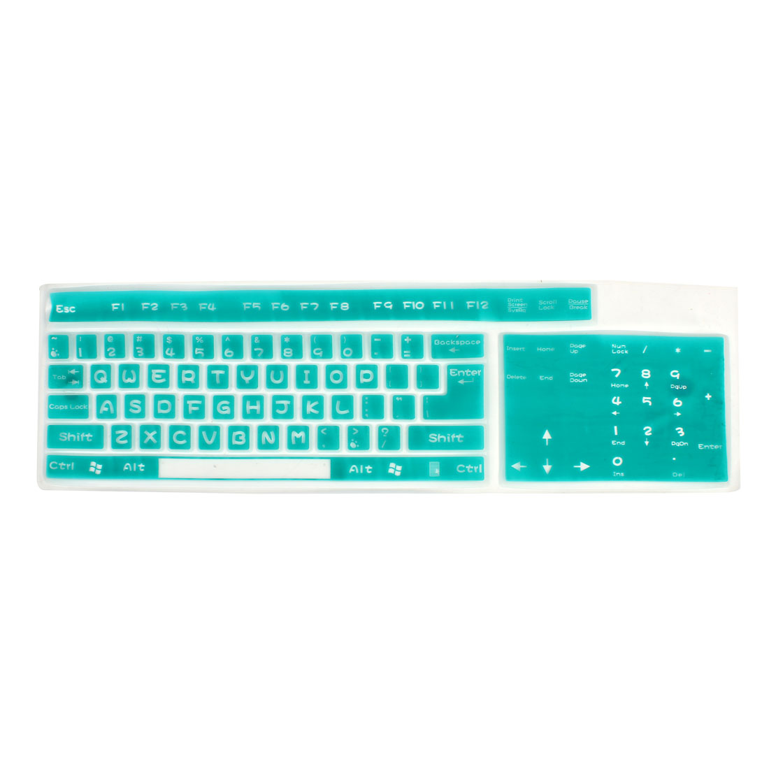 Soft Silicone Guard Film Shell Keyboard Cover Cyan for Desktop Computer