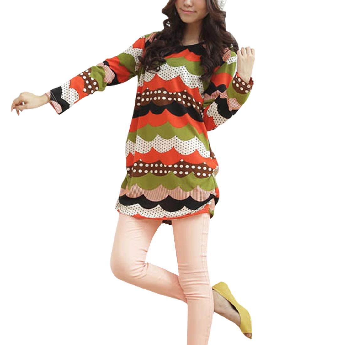 Women Round Neck Long Sleeved Wave Mix Color Knit Tunic Shirt S