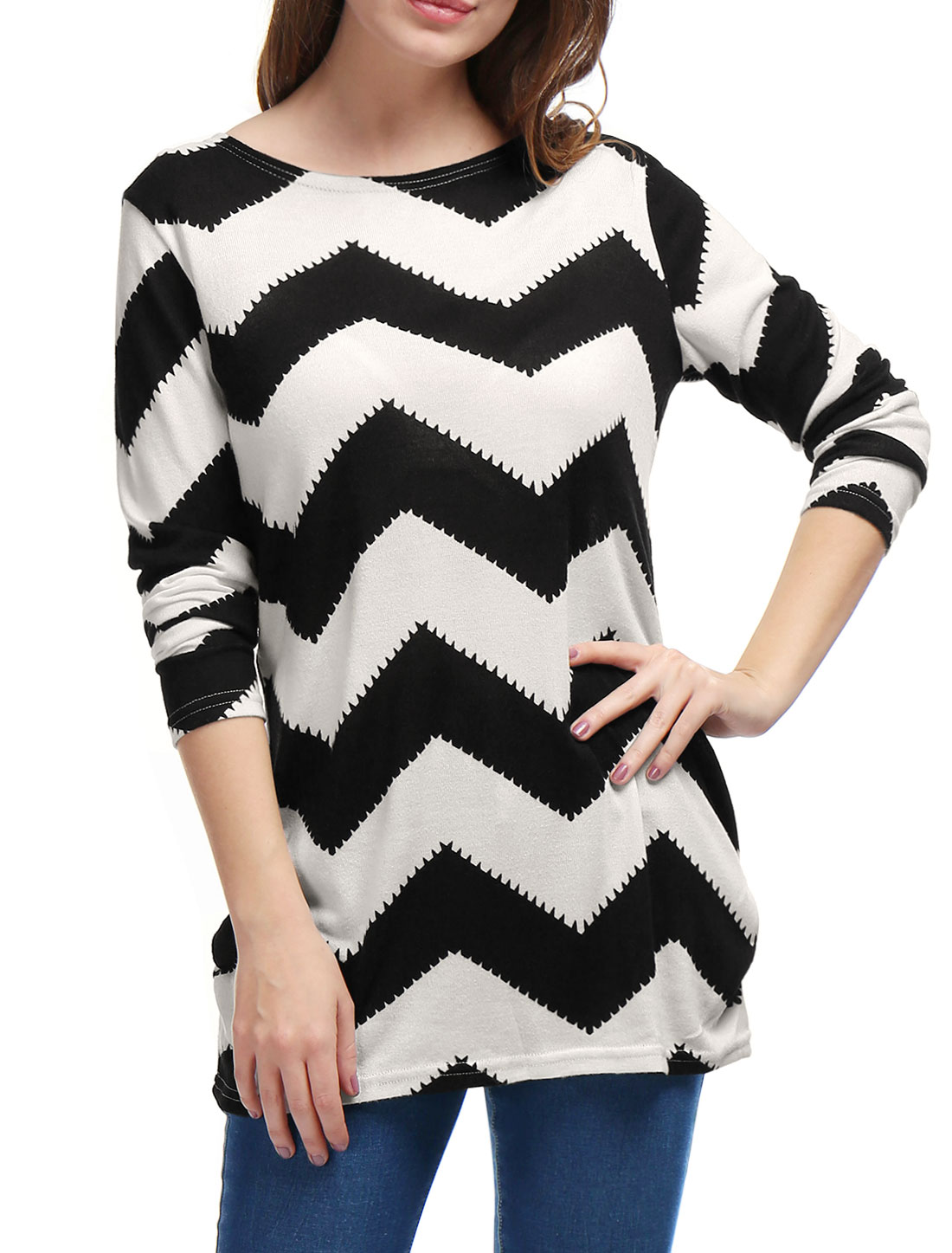 Allegra K Ladies Zig-Zag Pattern Tunic Knitted Top Black White S
