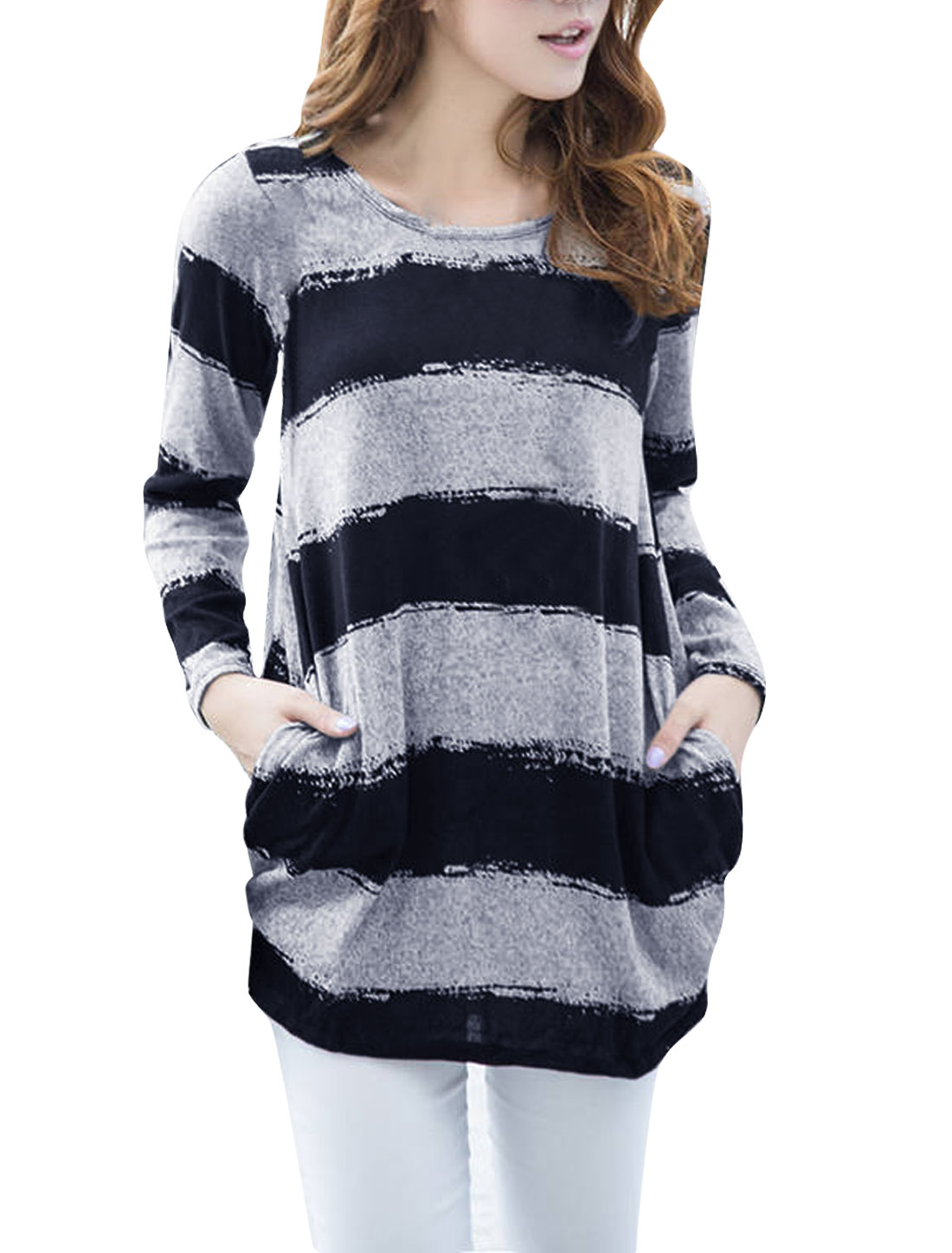 Lady Round Neck Long Sleeve Color Blocking Blue Gray Tunic Knit Shirt S