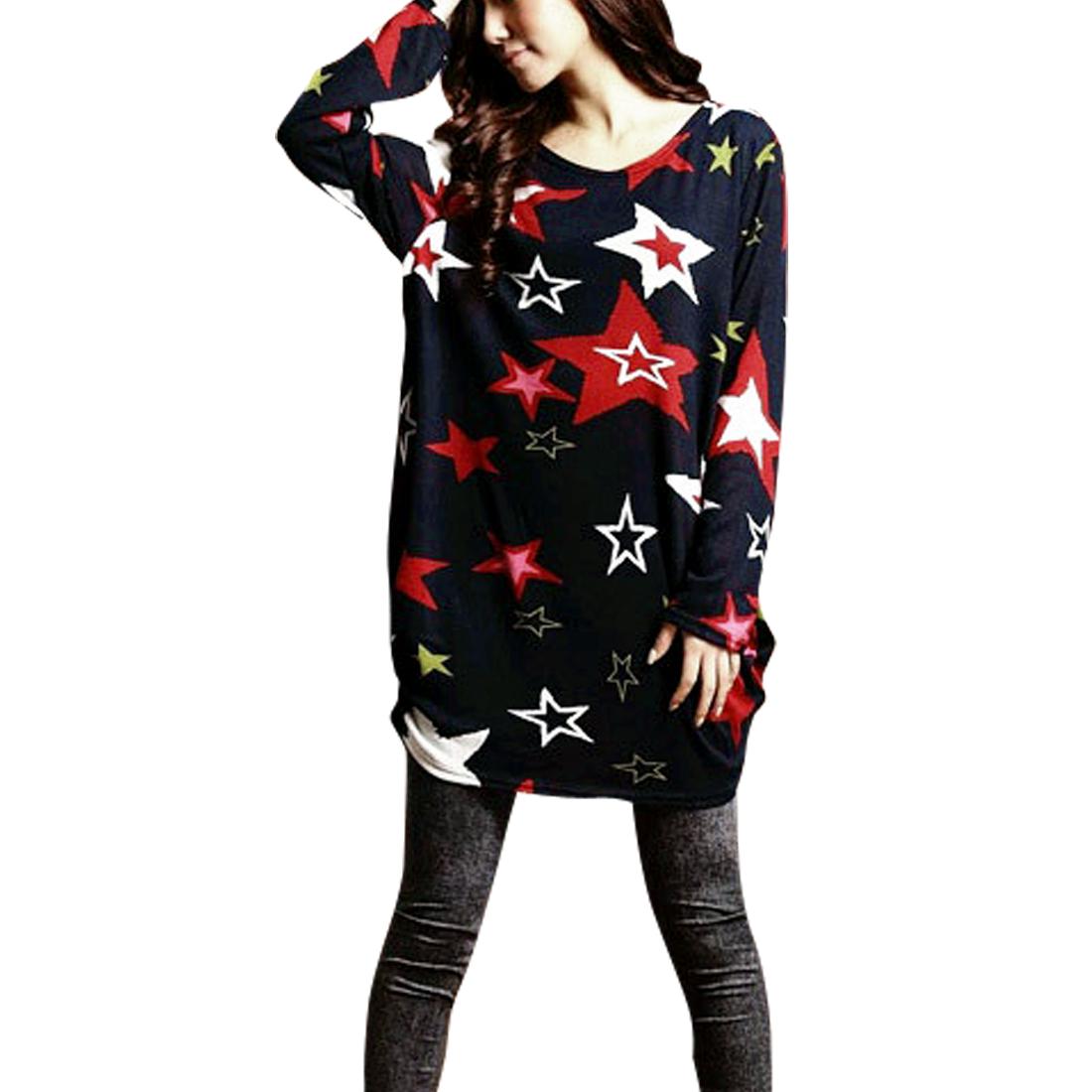 Women Scoop Neck Stars Pattern Navy Blue Knit Tunic Shirt S
