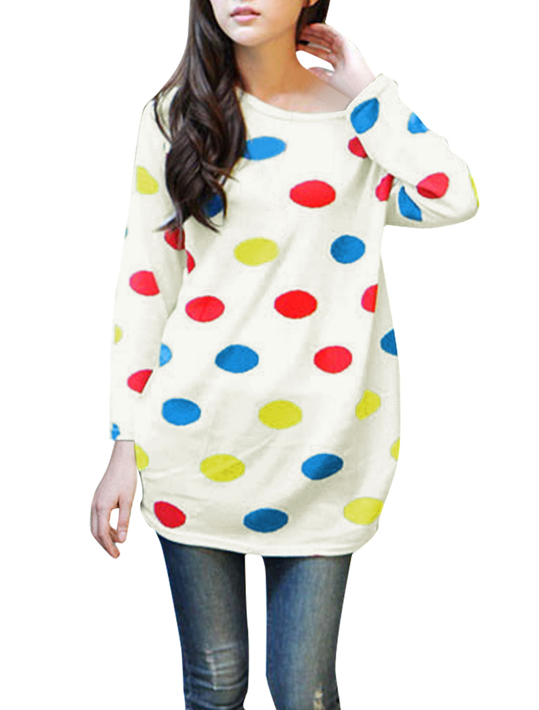 Ladies Round Neck Long Sleeve Dots Pattern Off White Tunic Knitted Shirt S