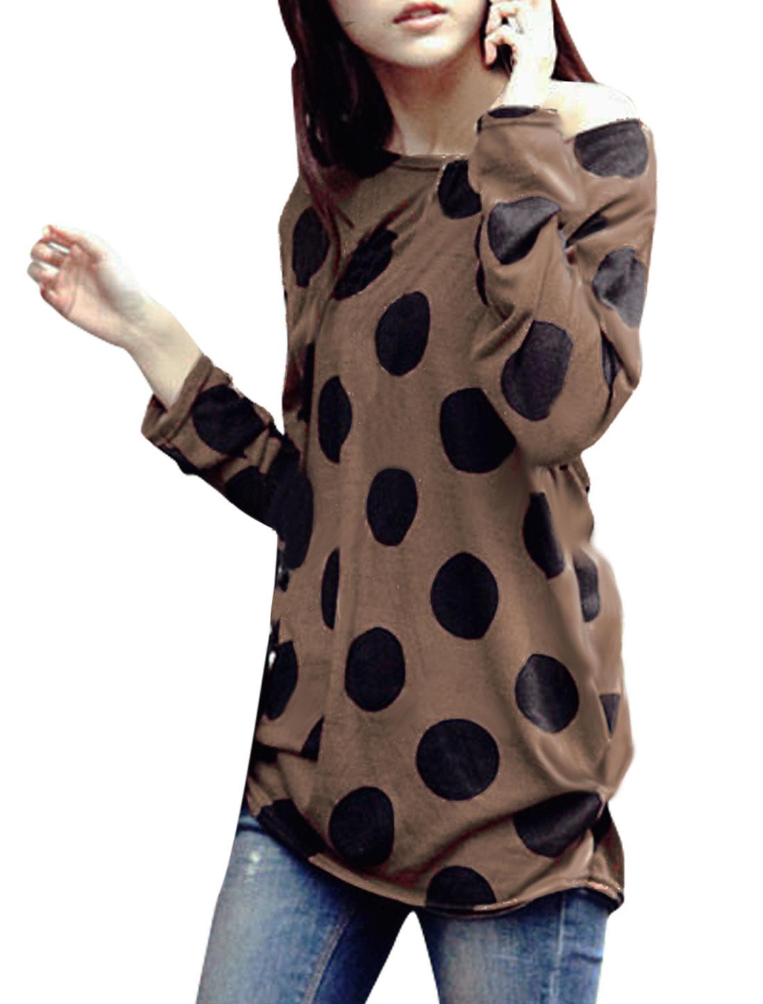 Women Round Neck Long Sleeve Dots Pattern Brown Knit Tunic Shirt XS