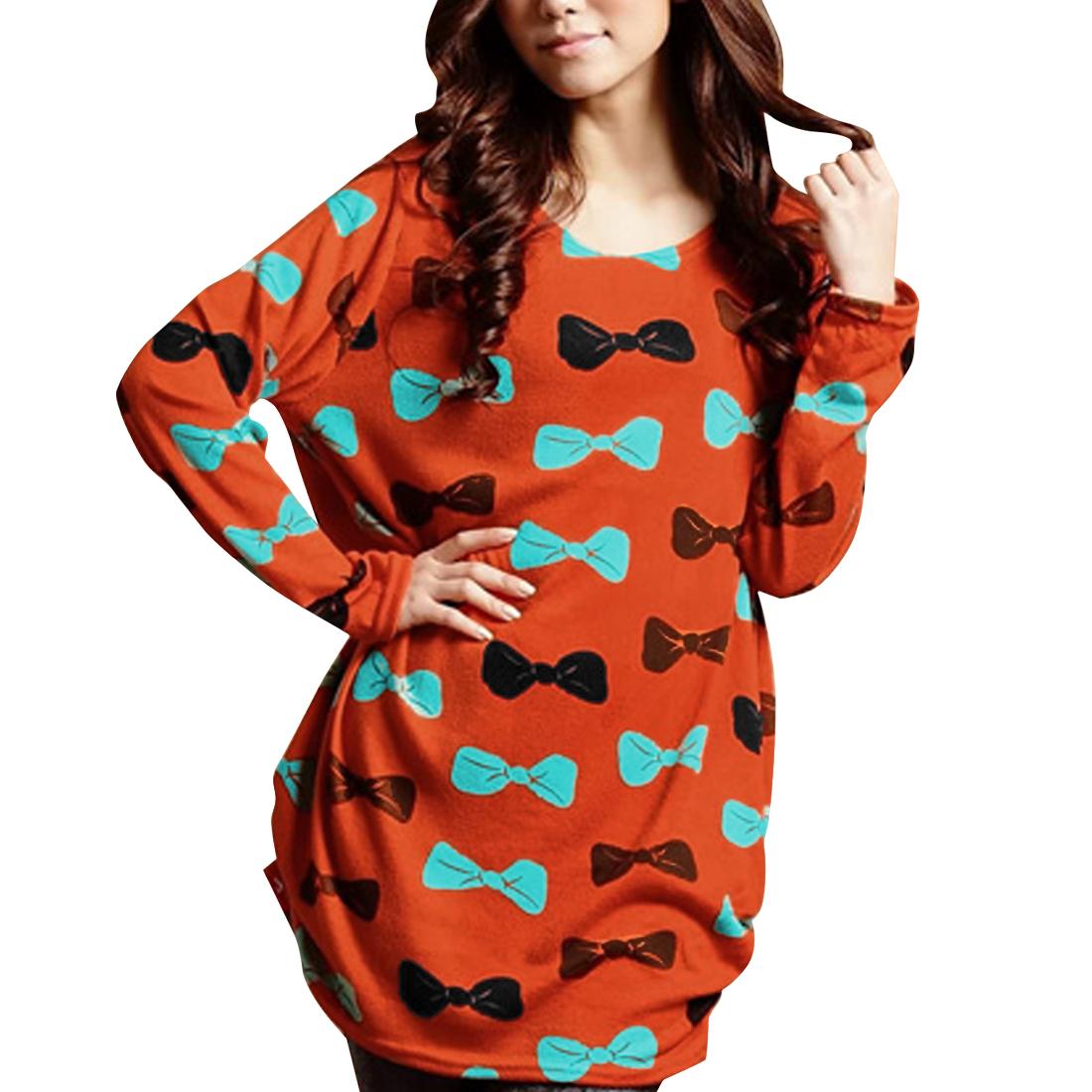 Ladies Round Neck Long Sleeve Bowtie Pattern Dark Orange Knitted Shirt S