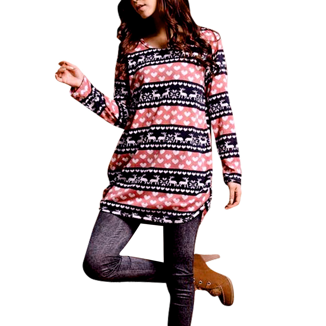 Women Stripes Hearts Deer Pattern Pink Navy Blue Knit Tunic Shirt XS