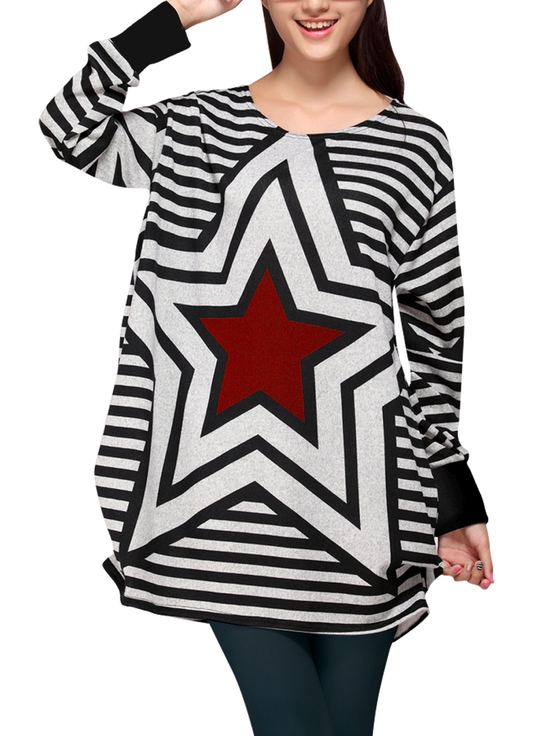 Women's Stylish Red Stars Pattern Stripes Casual Tunic Shirt M