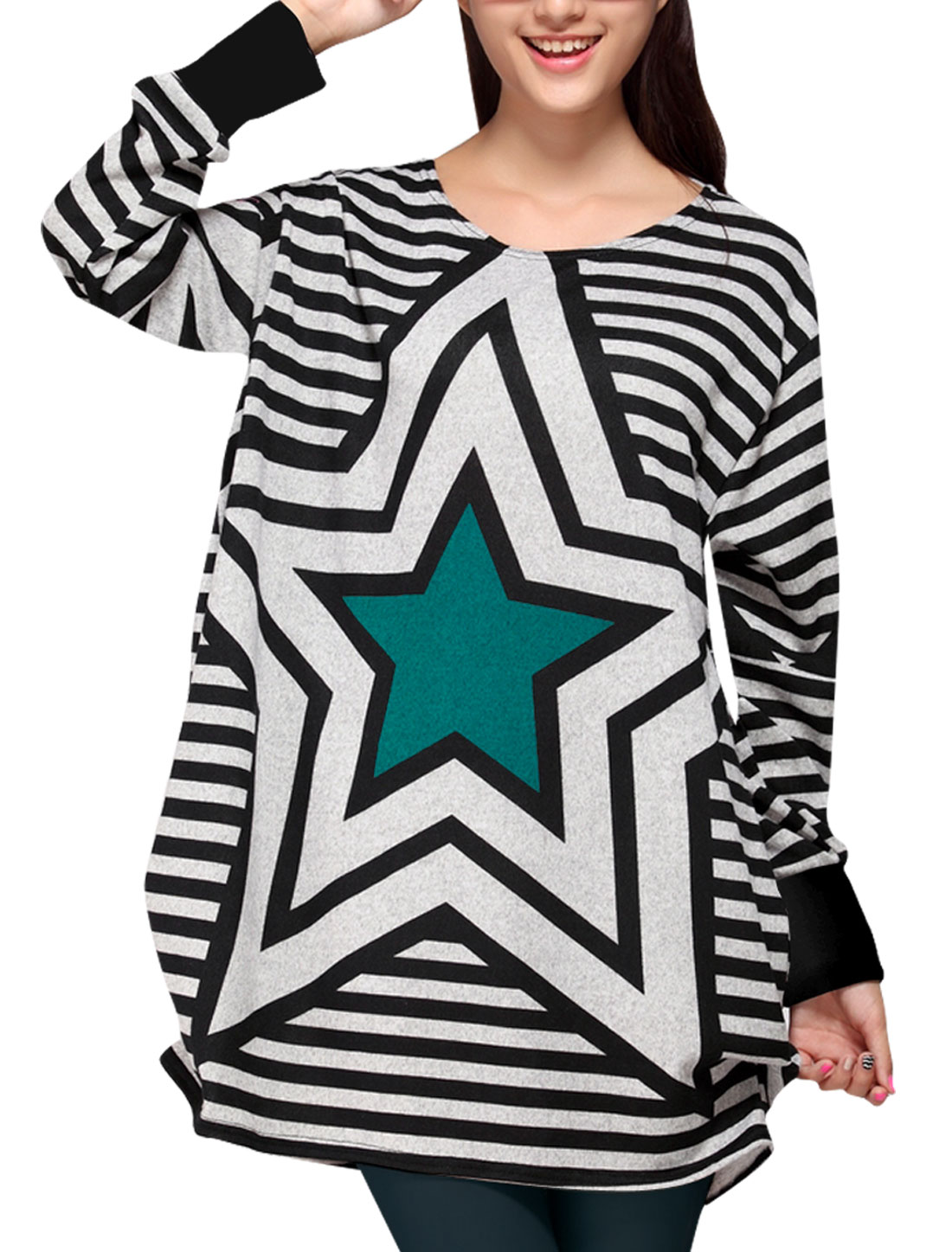 Lady's Leisure Long Blue Stars Pattern Tee M