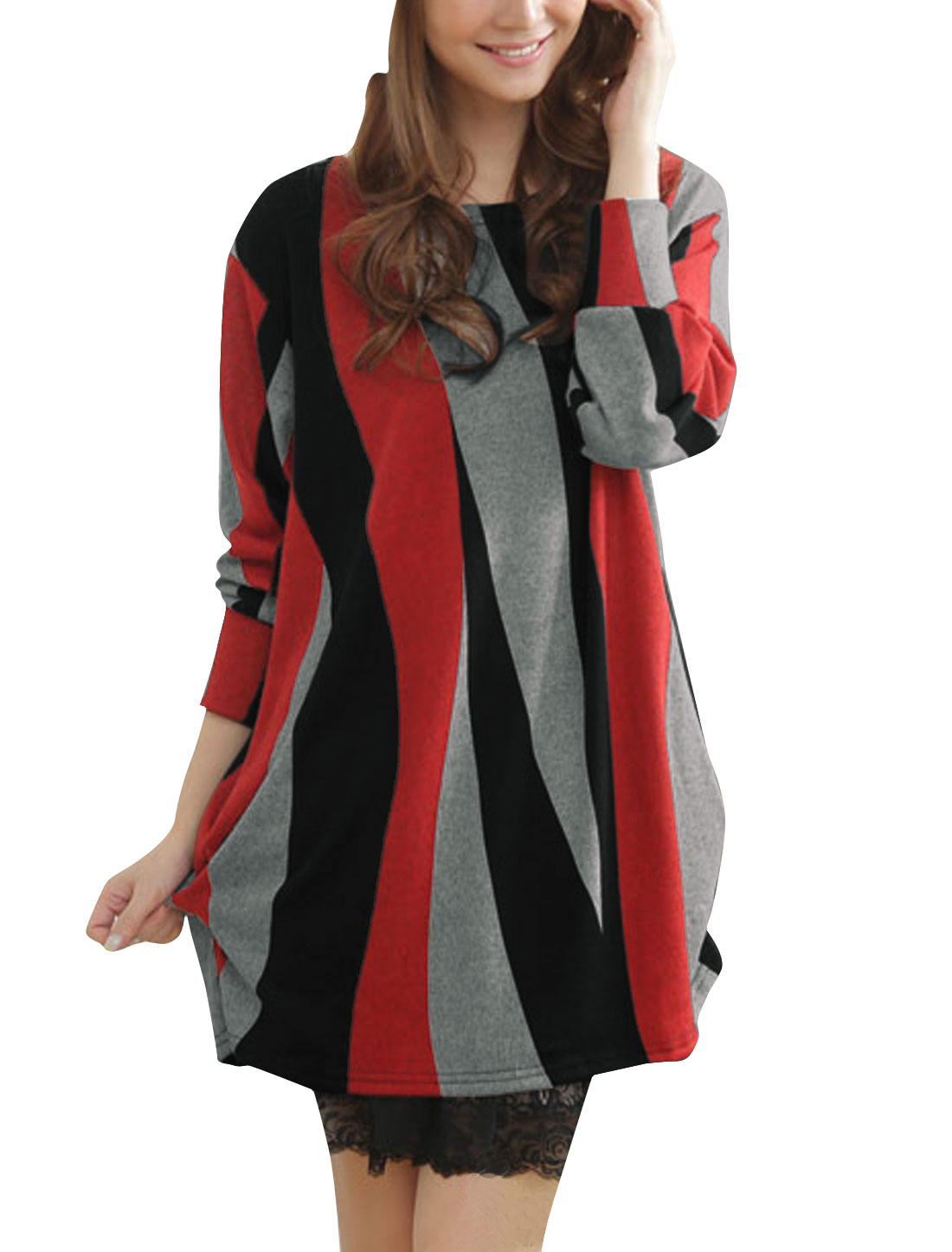 Ladies Red Black Colorblock Striped Spring Tunic Knitted Shirt S