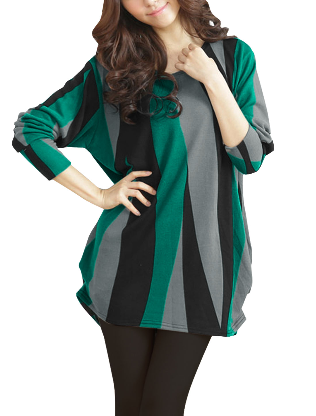 Woman Round Neck Green Black Contrast Color Striped Tunic Knitted Shirt S