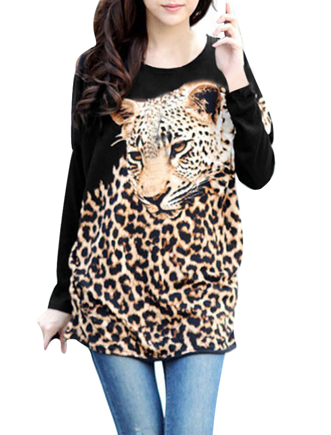 Brown Leopard Pattern Raglan Sleeve Women Knitted Tunic Shirt S