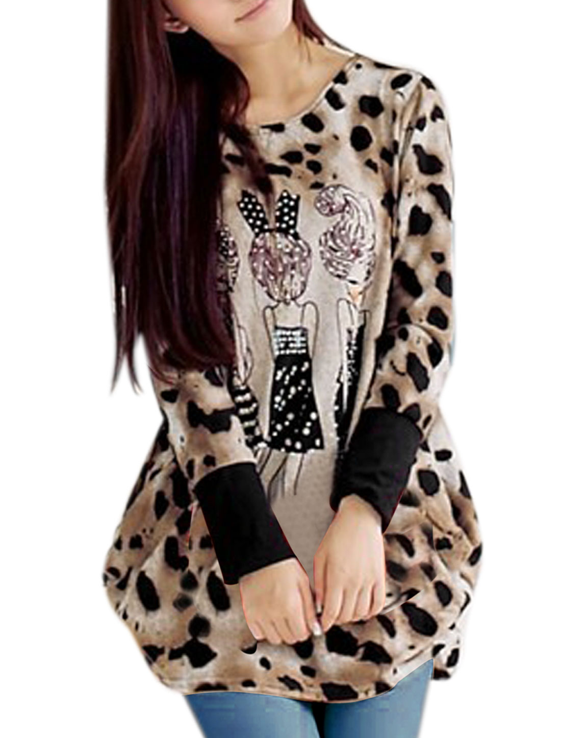 Woman's Khaki Leopard Prints Cartoon Pattern Fashionable Top Shirt S