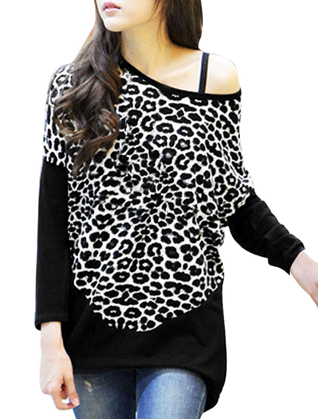 Women Black Long Sleeve Leopard Prints Knit Tunic Shirt S