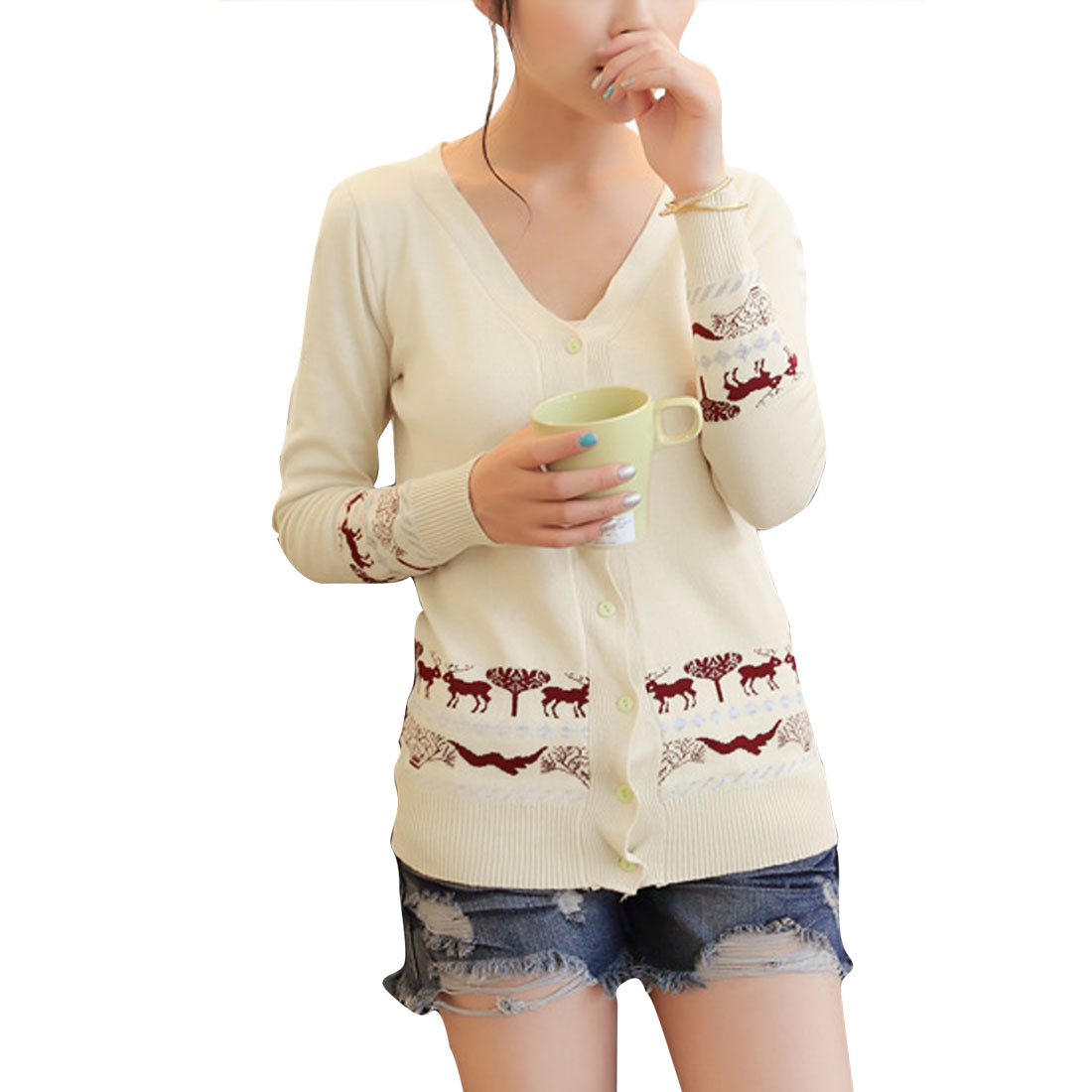 Lady V Neck Long Sleeve Stretchy Button Closure Beige Cardigan XS