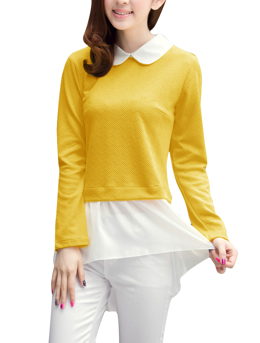 Ladies Doll Collar Pullover Splice Low High Hem Blouse Yellow White S