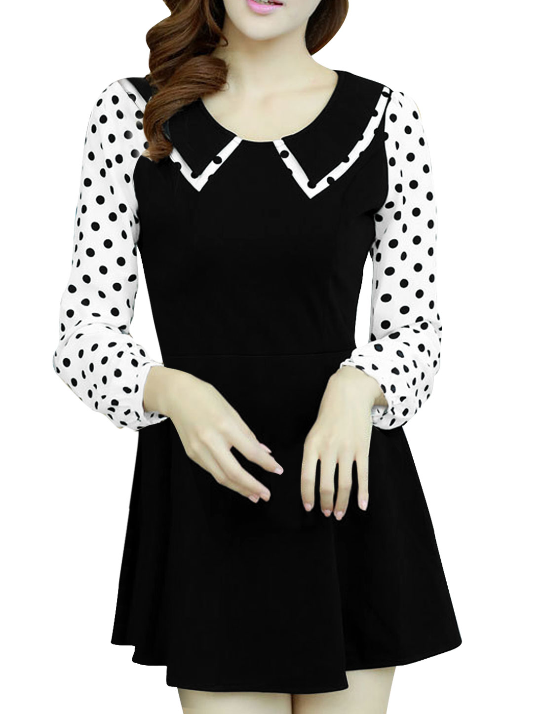 Ladies'Peter Pan Collar Spliced Dots Pattern Sleeve A Line Black Dress S