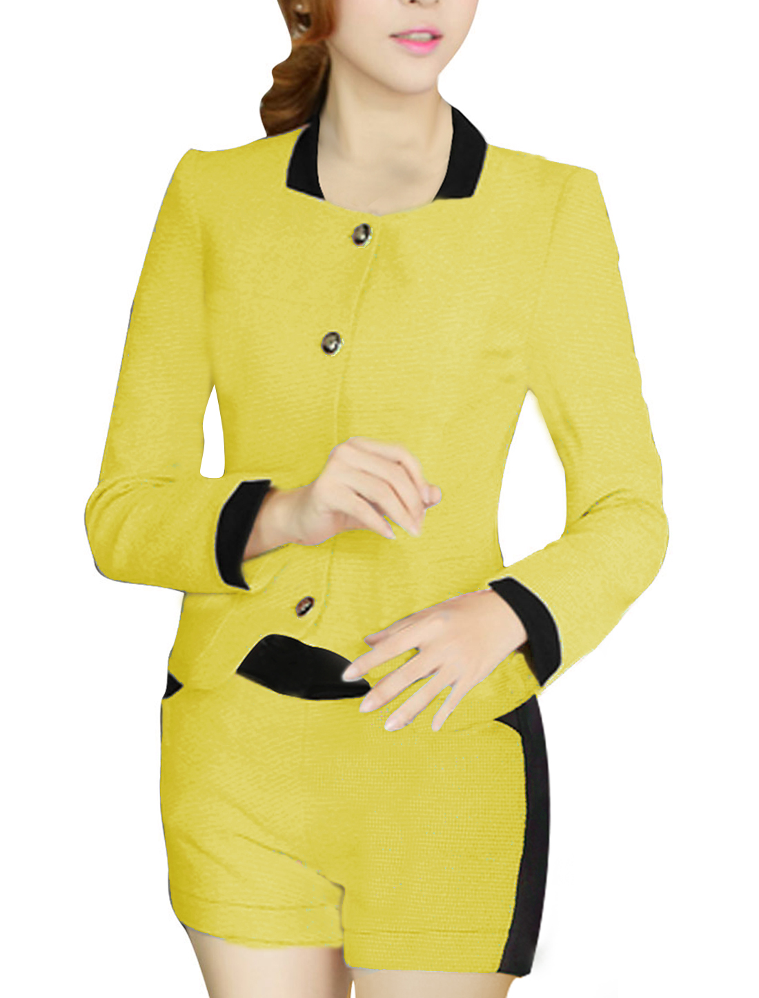 Lady Single Breasted Jacket & Mid Rise Pocket Front Yellow Shorts XS