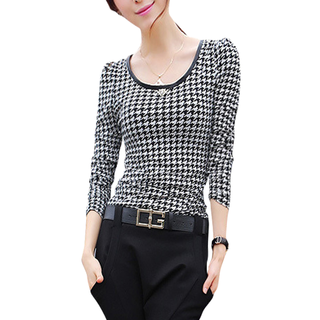 Women Scoop Neck Lace Splicing Black White Houndstooth Tee Shirt XS