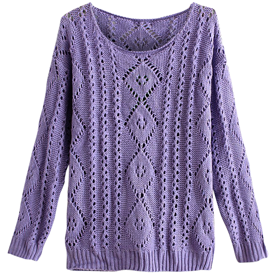 Women's Pullover Purple Hollow Out Knitted Sweater S