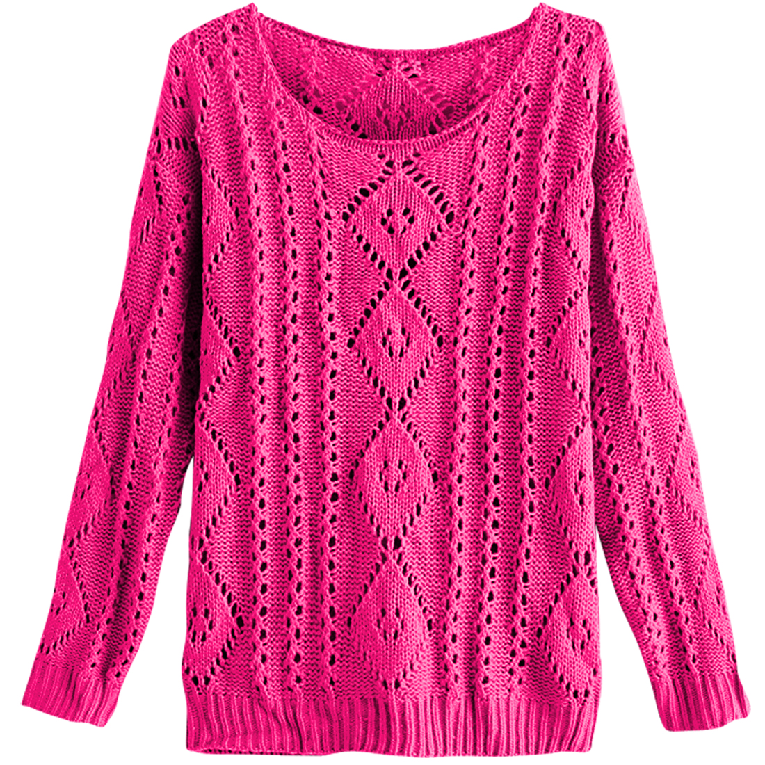 Round Neck Long Sleeve Pullover Fuchsia Knitting Sweater For Lady S