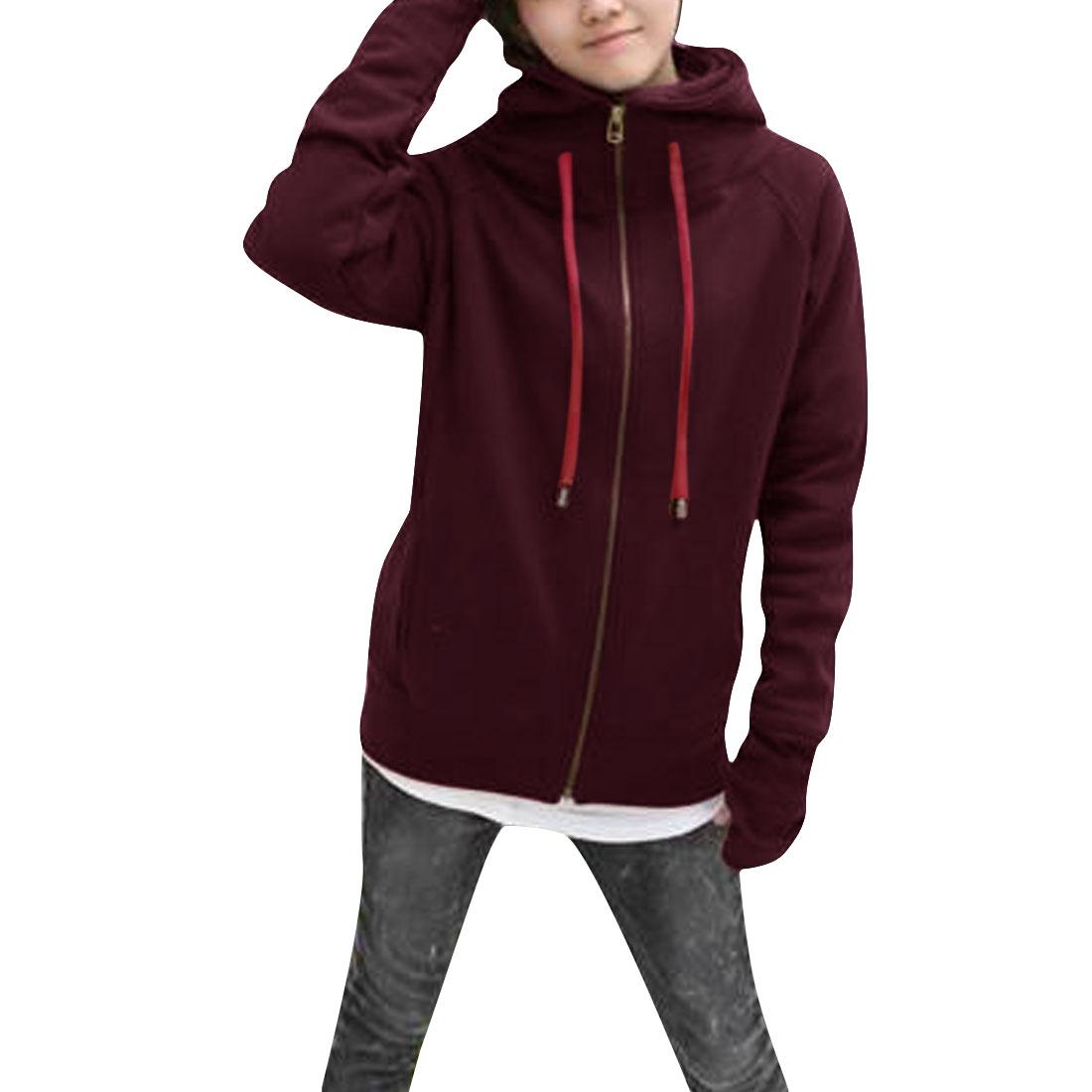 Ladies Chic Thumb Hole Long Sleeve Full Zip-Up Front Burgundy Hoodie S