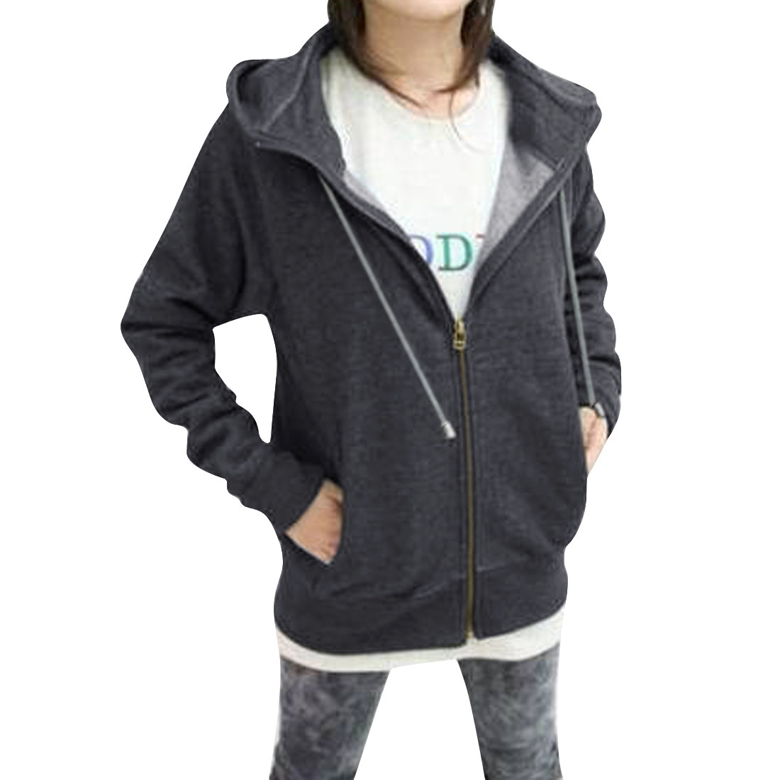 Pure Dark Gray Full Zip-Up Closure Warm Hooded Jacket for Lady S