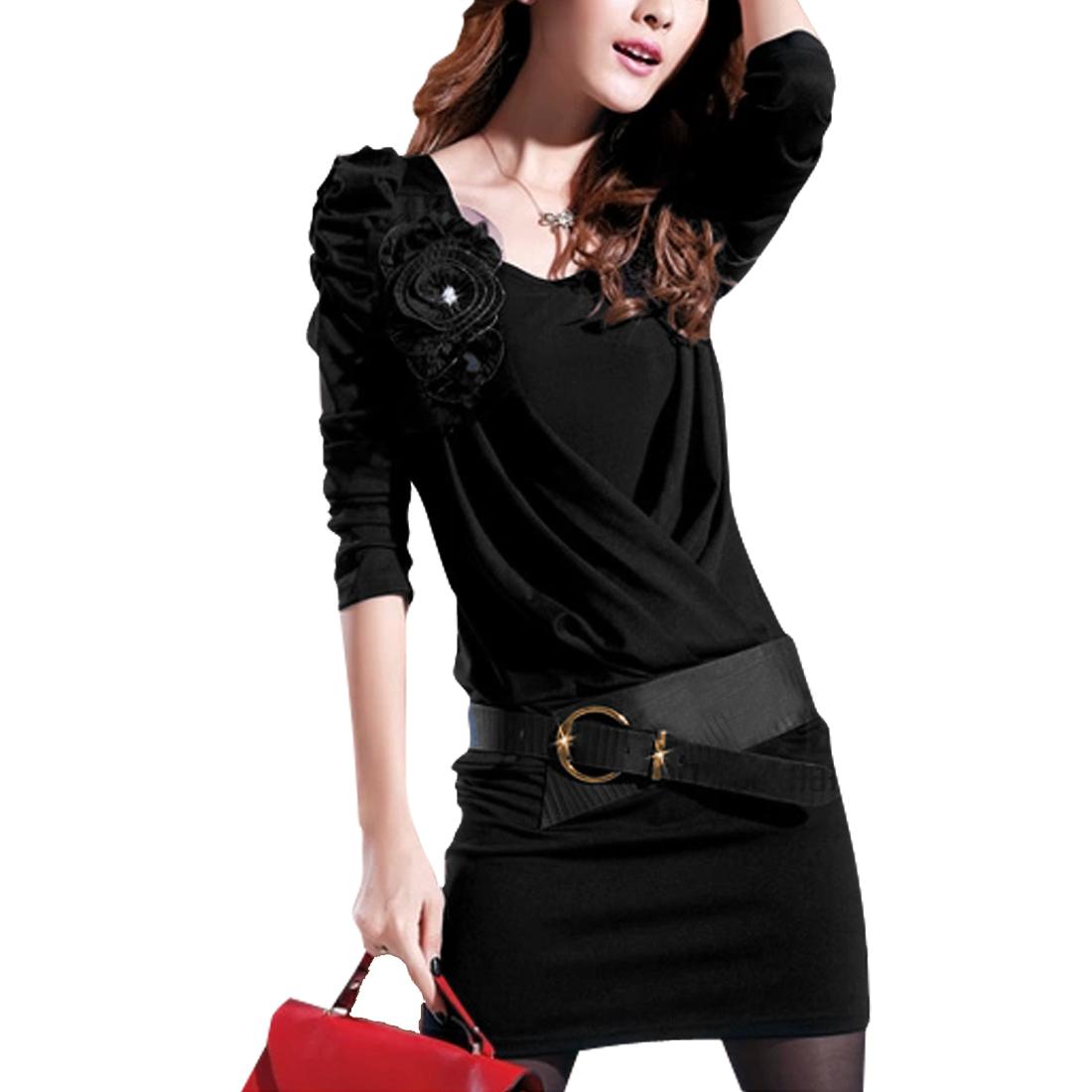 Woman'Layered Design Puff Sleeve Flower Decor Dress Black XS