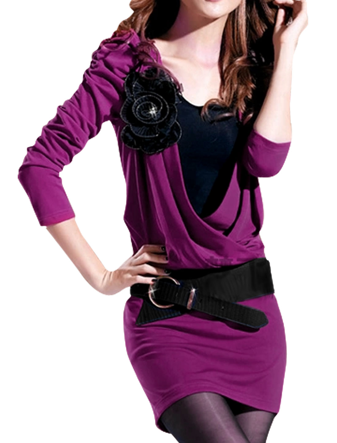 Lady's Layered Design Flower Decor Puff Sleeve Dress Fuchsia XS