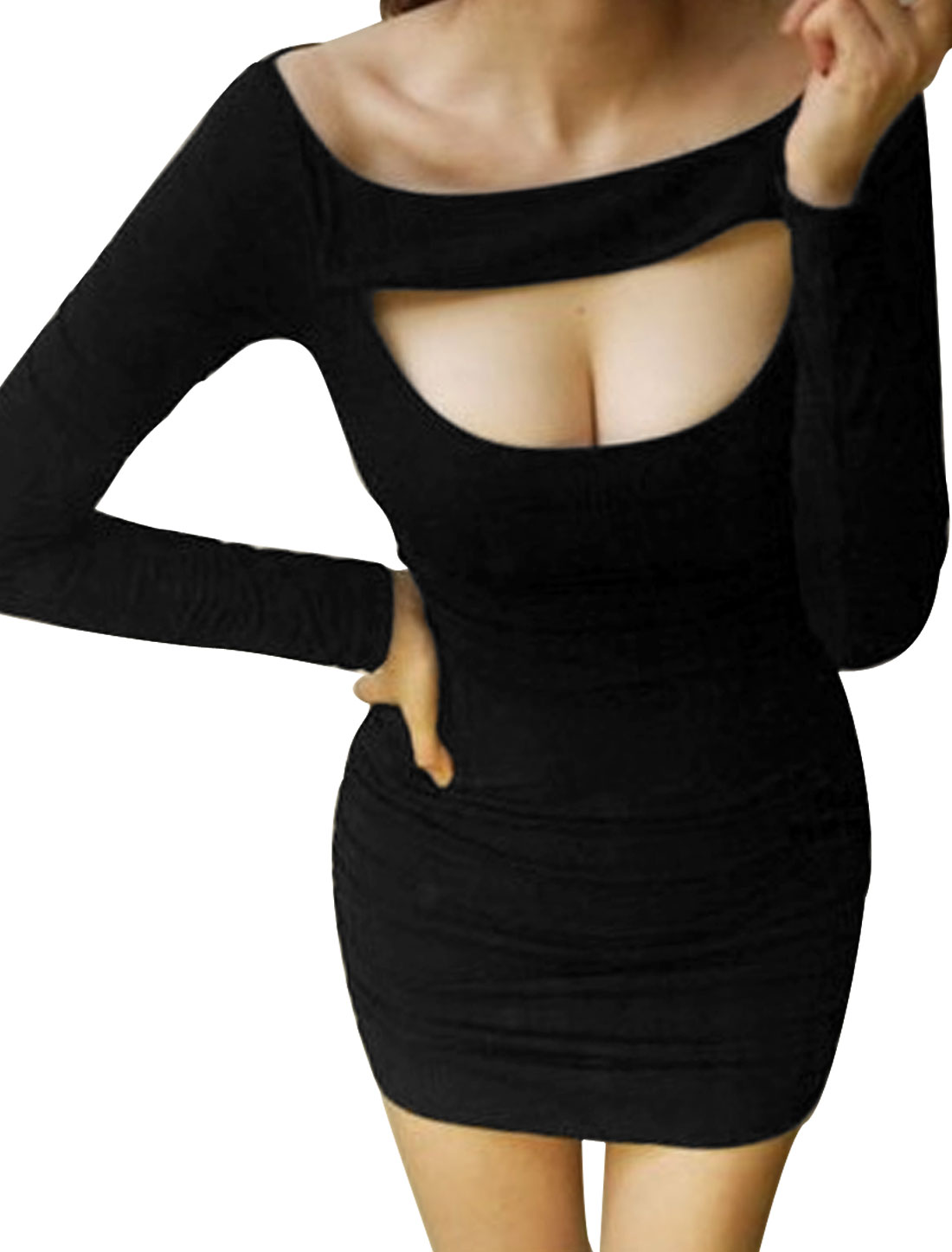 Lady Sexy Boat Neck Long Sleeve Stretchy Cut Out Black Dress XS