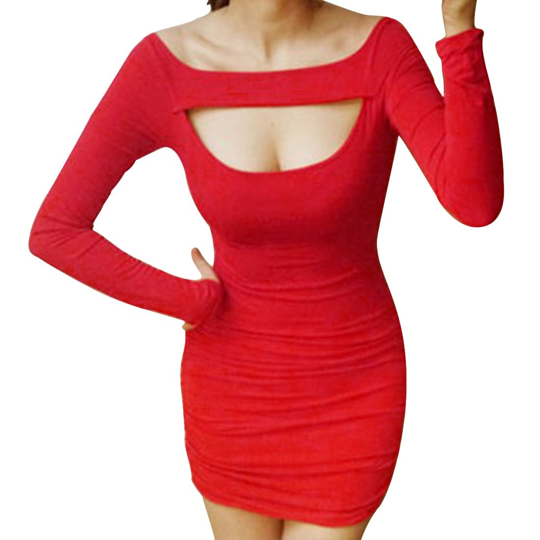 Lady Sexy Boat Neck Long-sleeved Stretchy Cut Out Red Dress XS
