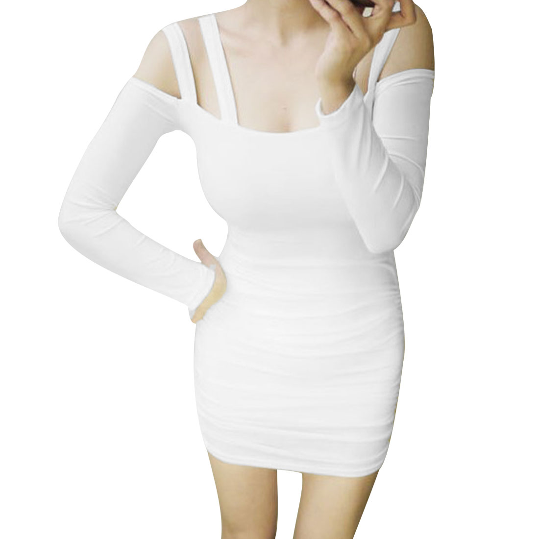 Lady Slim Double Shoulder Strap Long Sleeve Backless White Dress XS