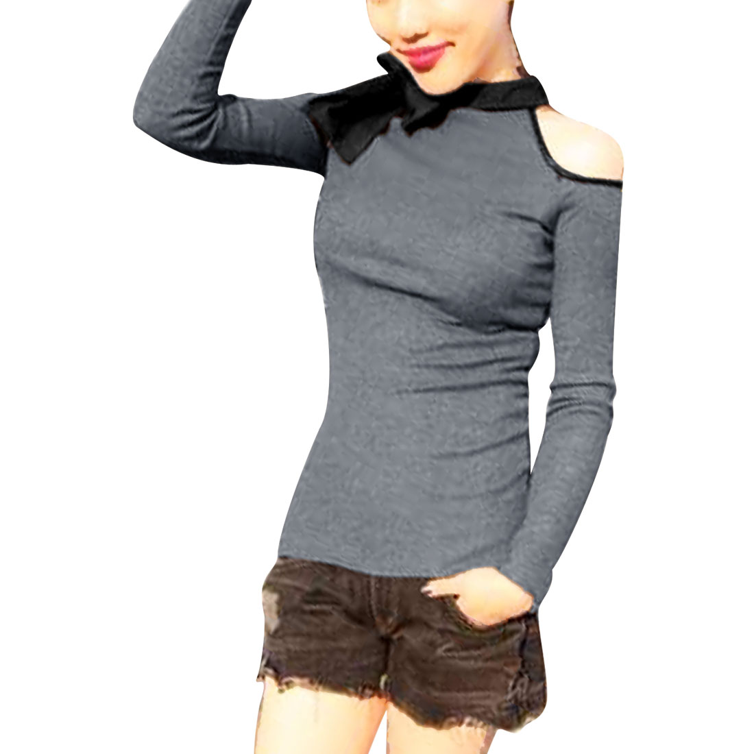 Lady Mock Neck Long-sleeved Self Tie Bowknots Gray Knit Shirt XS