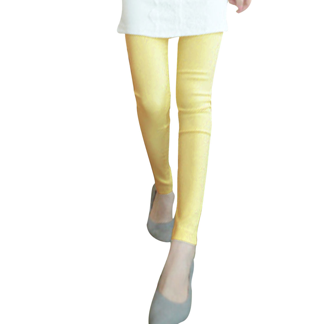 Lady Elastic Waist Zip Up One Top Pocket Light Yellow Pencil Pants XS