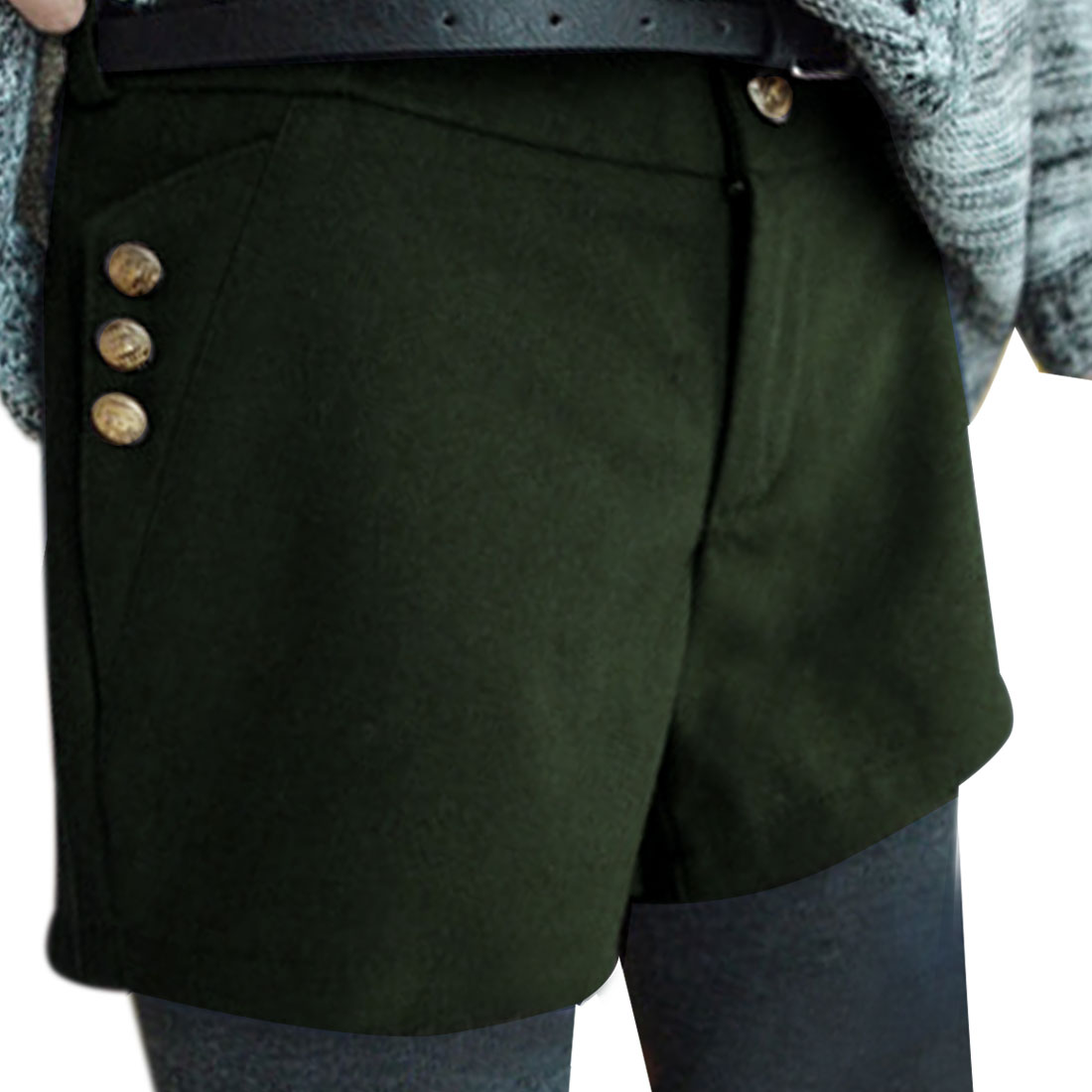 Lady Waistband Loop Zip Closure Army Green Worsted Shorts XS