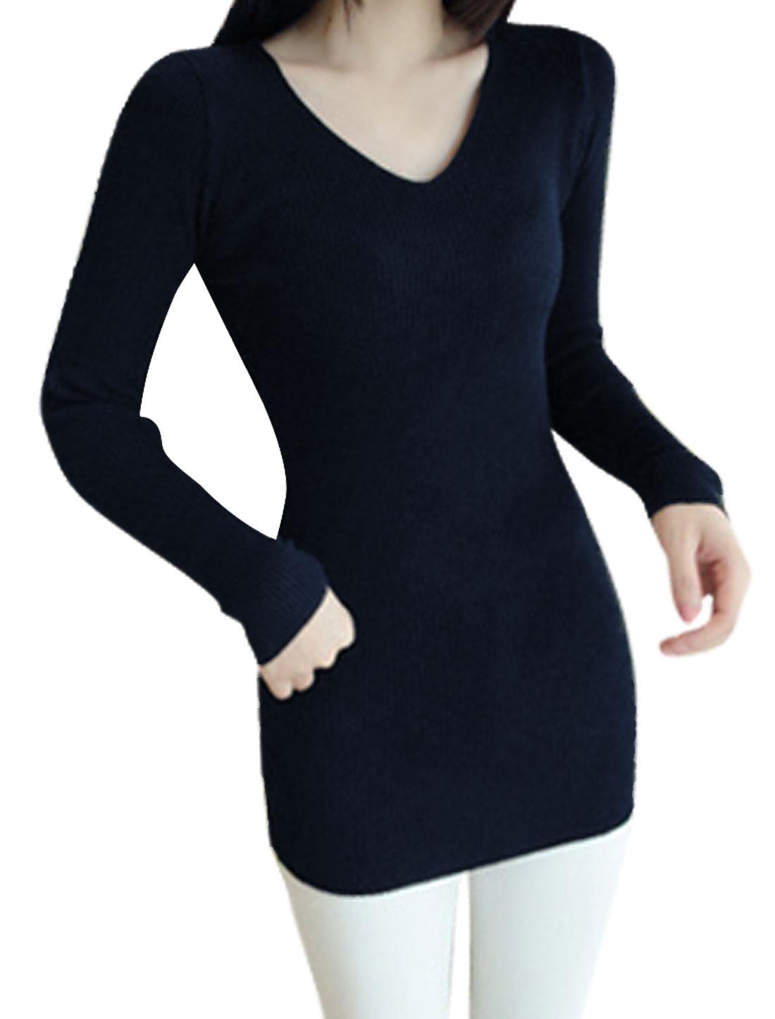 Lady V Neck Long Sleeve Ribbed Slim Tunic Knit Shirt Navy Blue XS