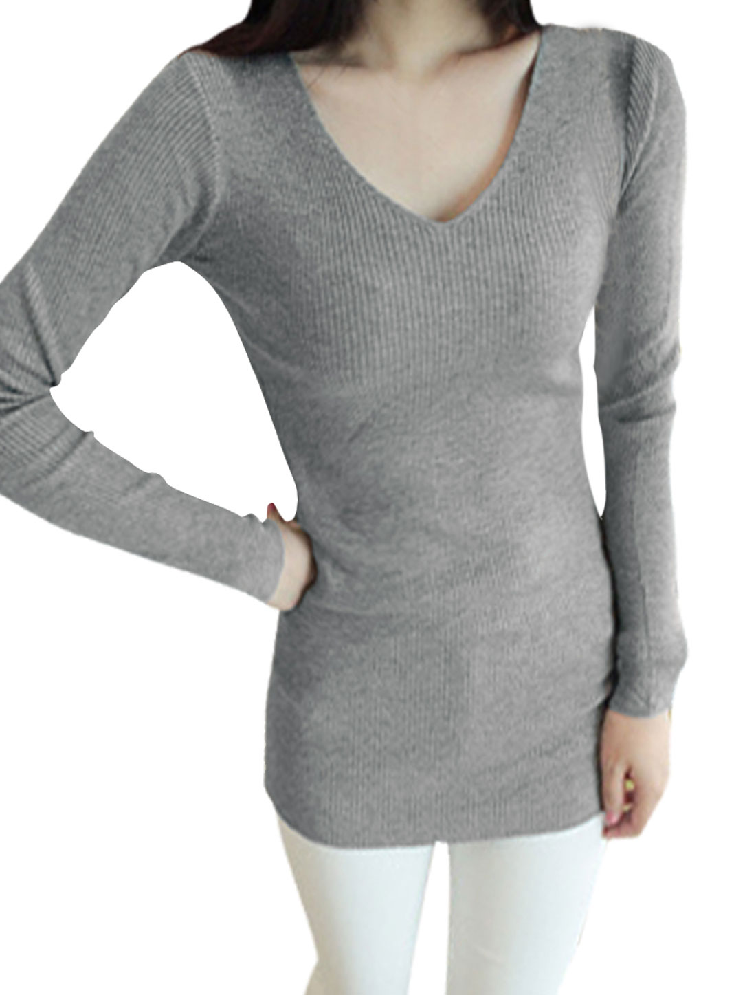 Women Stretchy V-Neck Ribbed Light Gray Knit Tunic Shirt XS