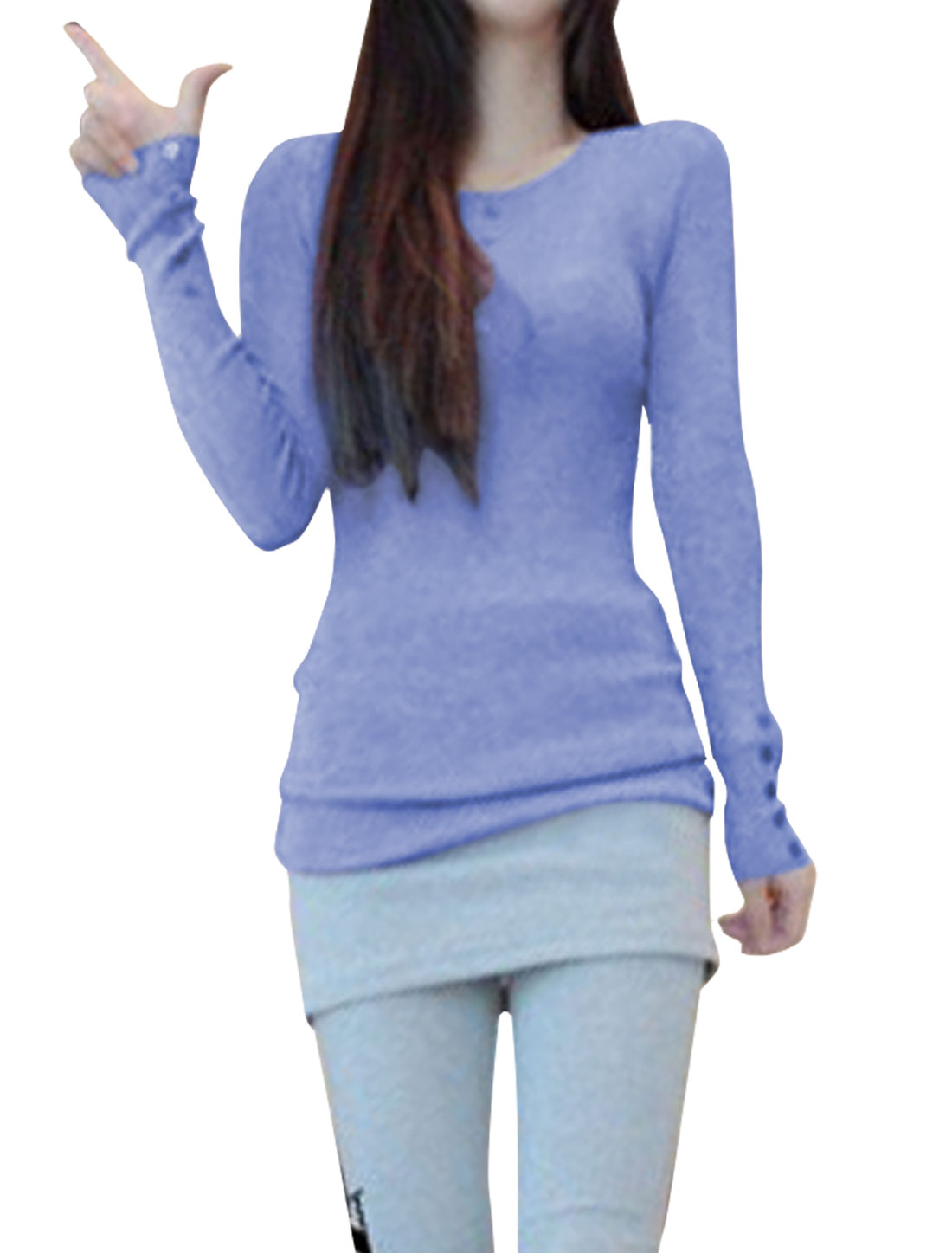 Ladies Lilac Color Round Neck Long Sleeve Ribbing Tunic Shirt XS