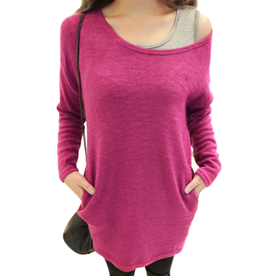 Lady Scoop Neck Long-sleeved Two Side Pockets Decor Fuchsia Knit Shirt S