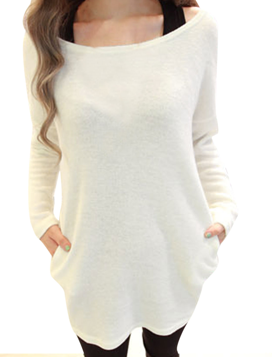 Lady Scoop Neck Long Sleeve Pullover White Knit Shirt S