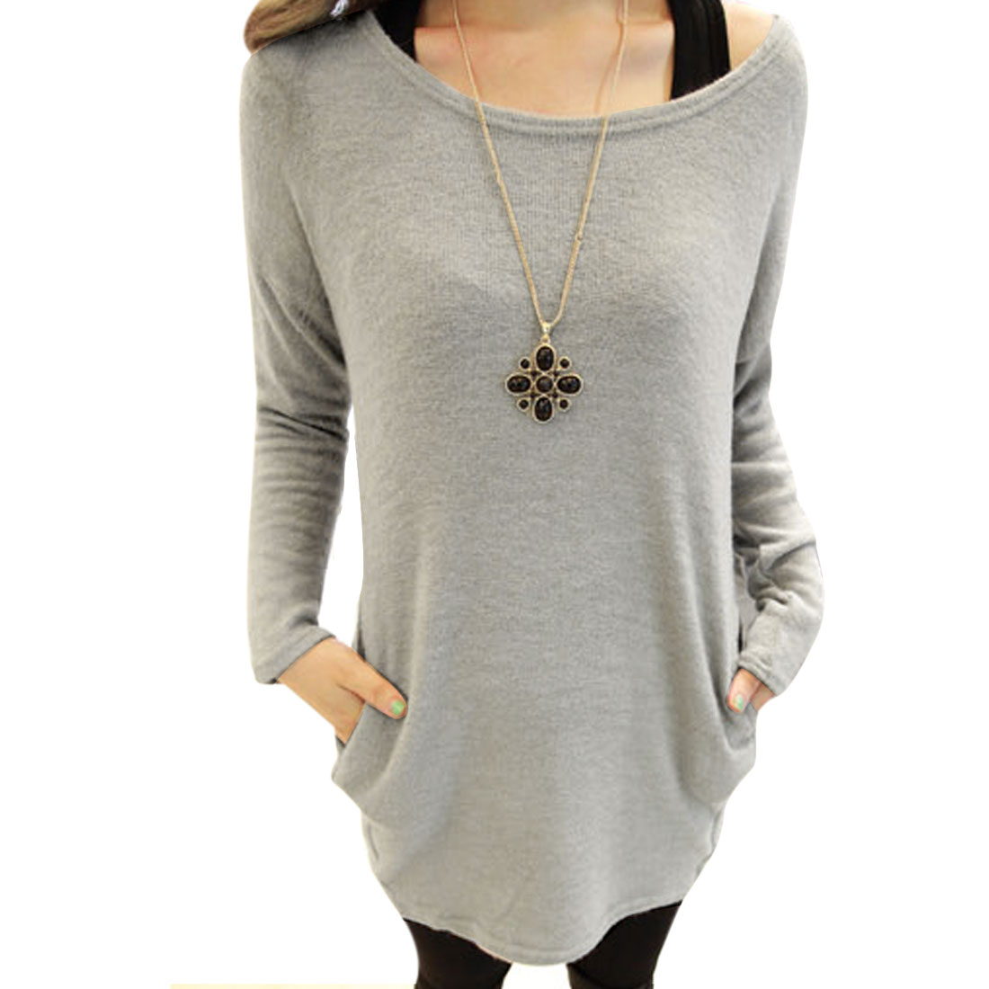 Lady Scoop Neck Long-sleeved Two Side Pockets Light Gray Knit Shirt S